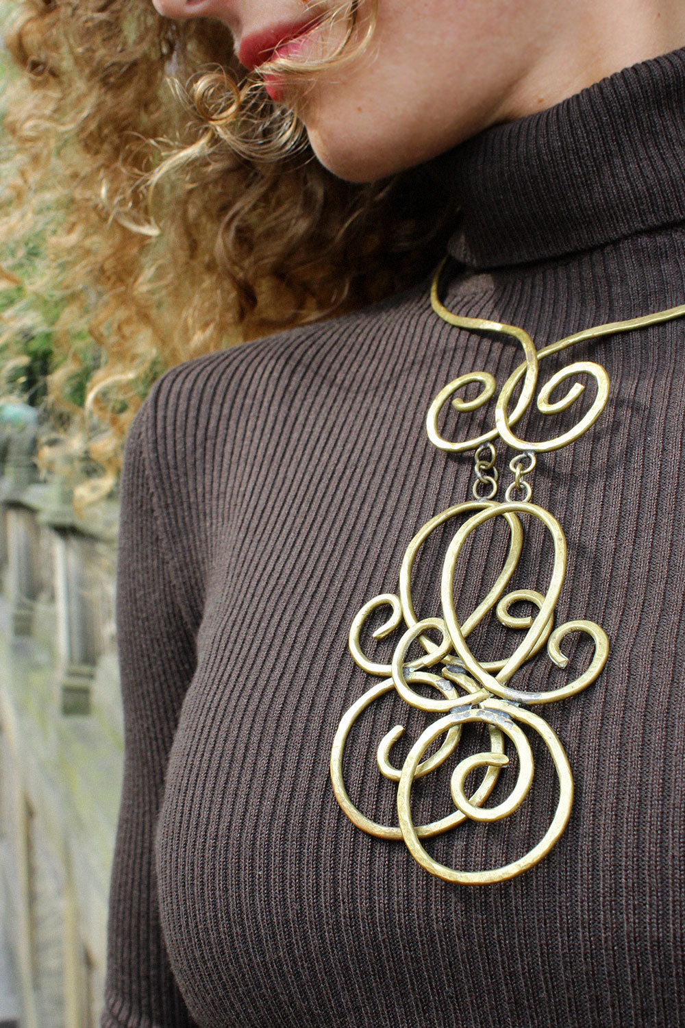 Brass Infinity Collar Necklace