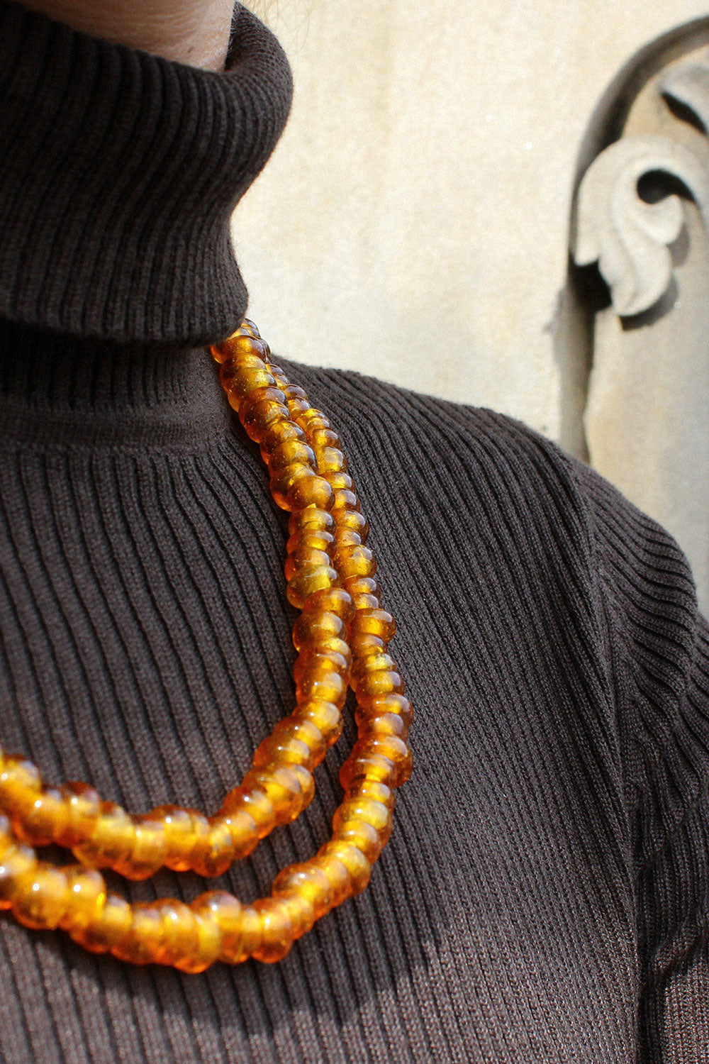 Amber Glass Beaded Strand