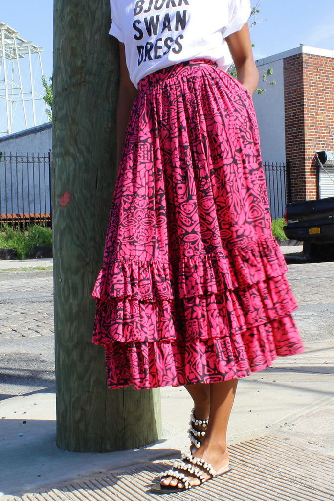Hot Pink Ruffle Skirt S/M