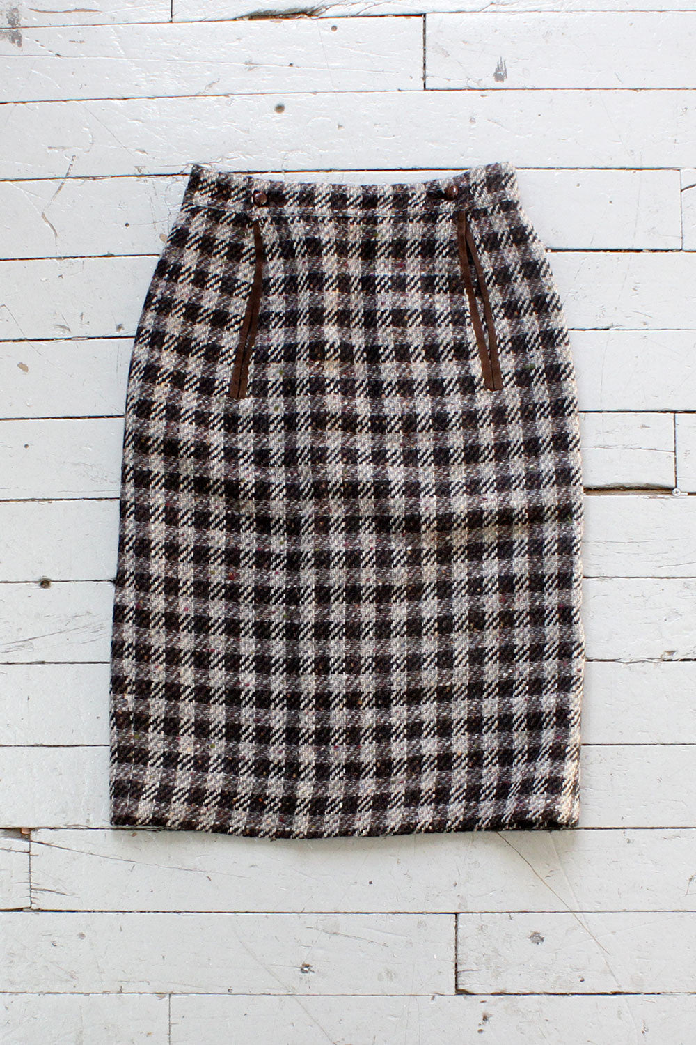 Checkered Wool Skirt S