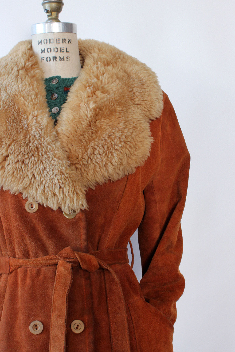 Rust Suede Shearling Collar Coat M