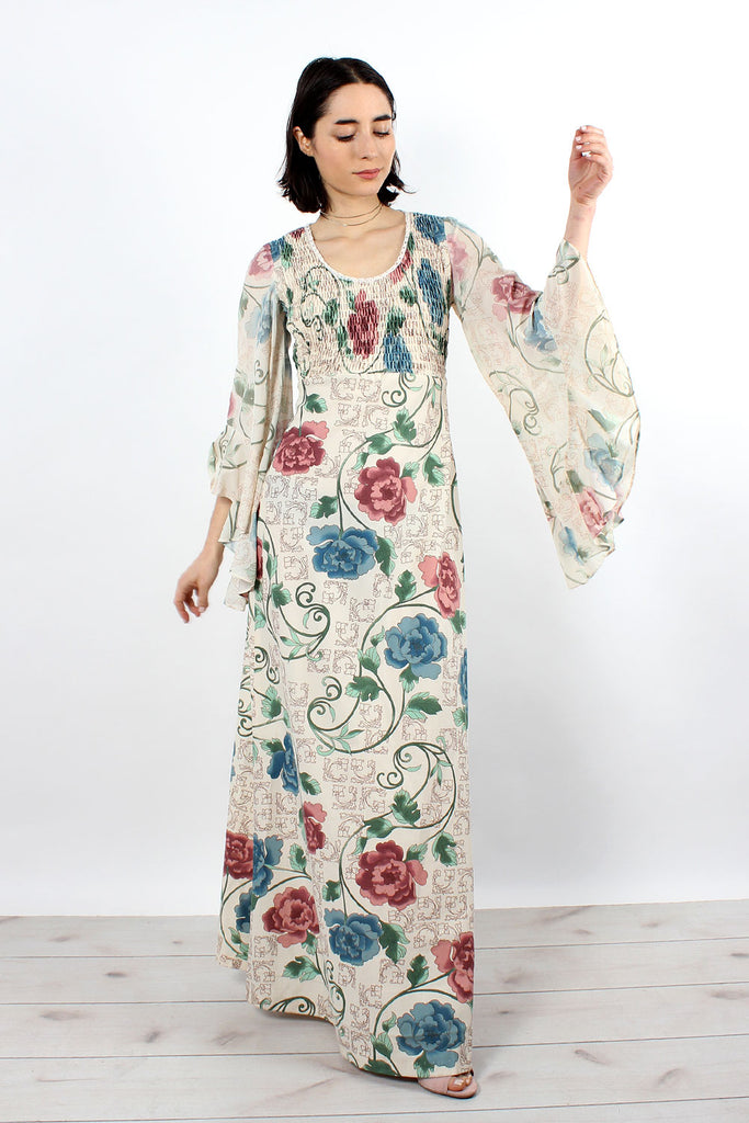 Cream Chinoiserie Angel Sleeve Dress XS-M