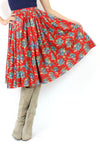 Red Wool Dirndl Skirt M