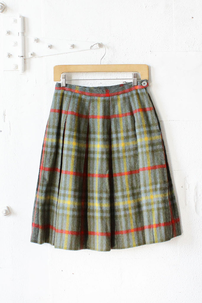 60s Fuzzy Plaid Pleat Skirt XS/S