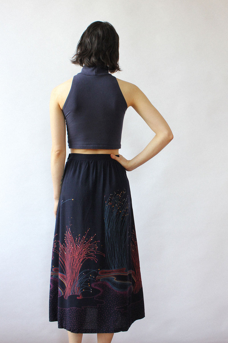 Fiber Optic Print 70s Skirt XS