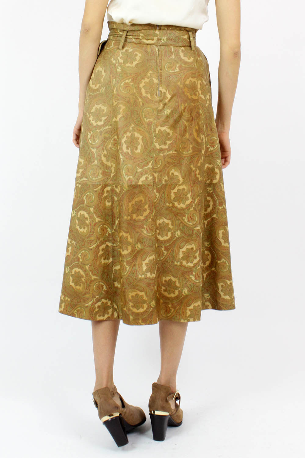 Paisley Leather Midi Skirt S/M