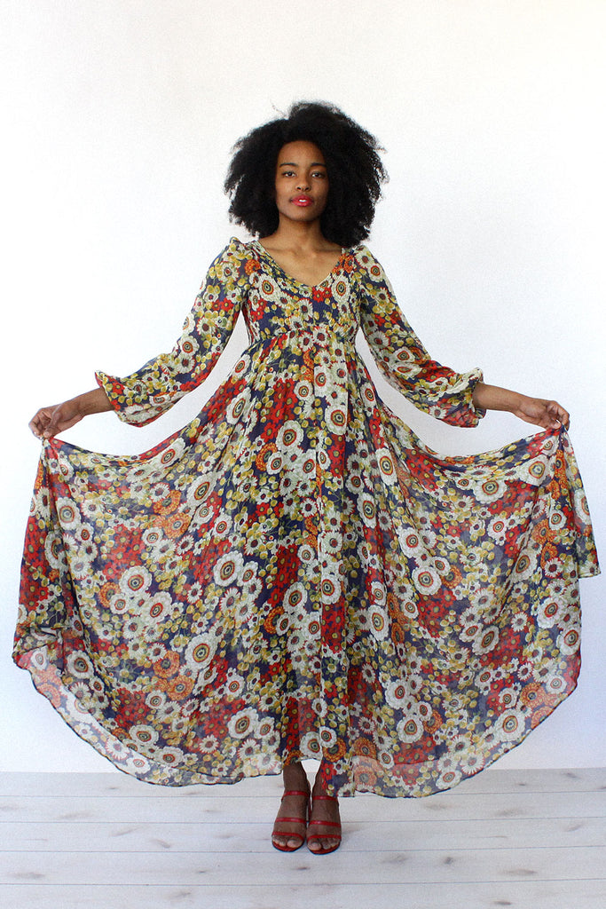 Smocked Floral Maxi Dress S/M
