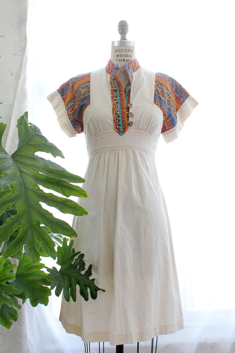 Earthy Patch Cotton Dress XS-M