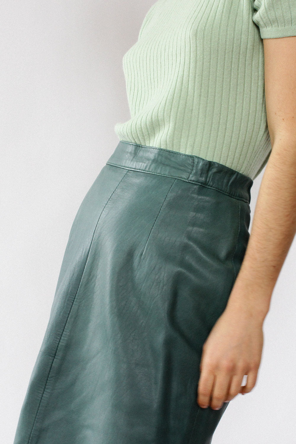 Forest Green Leather Skirt S