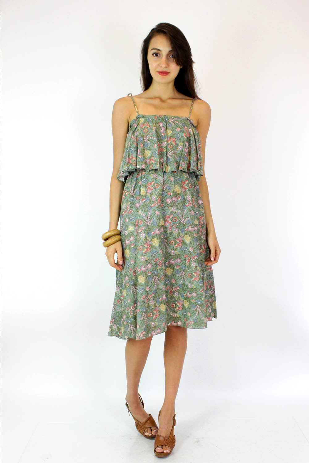 Mint Floral Prairie Dress S