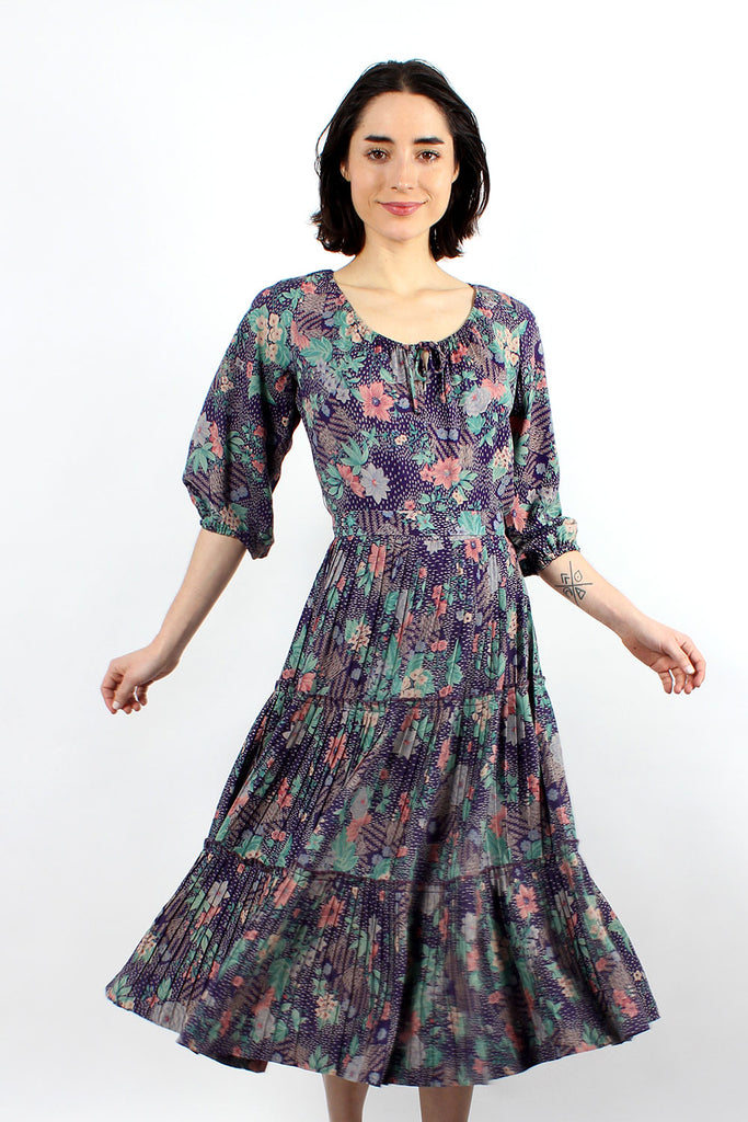 Wildflower Pleated Peasant Dress S/M