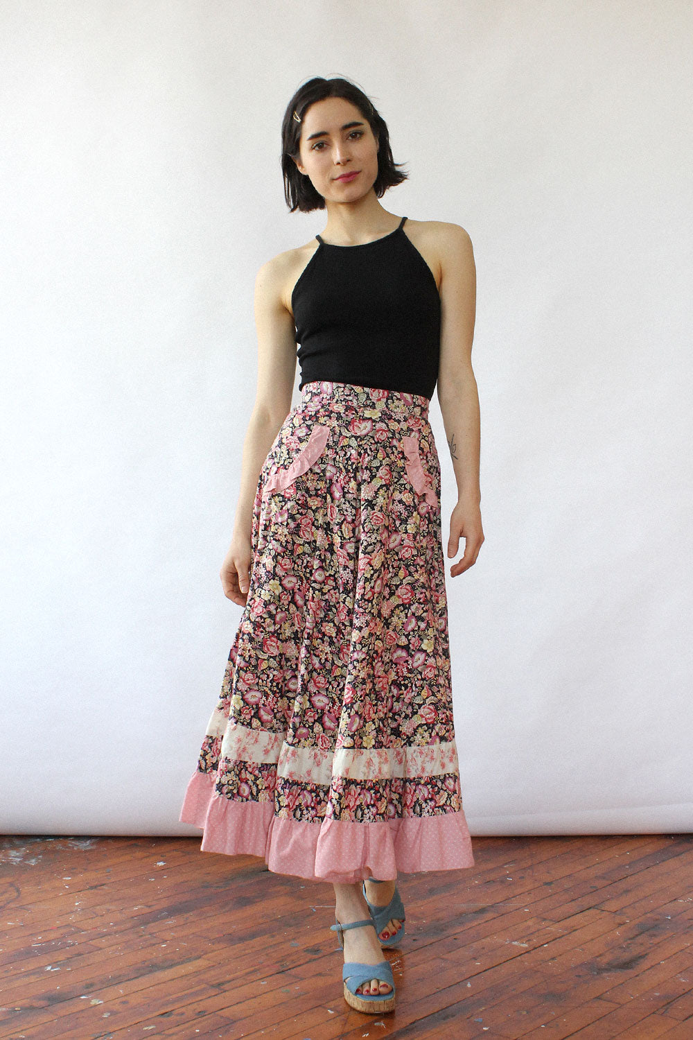 Ruffled Cotton Prairie Skirt XS