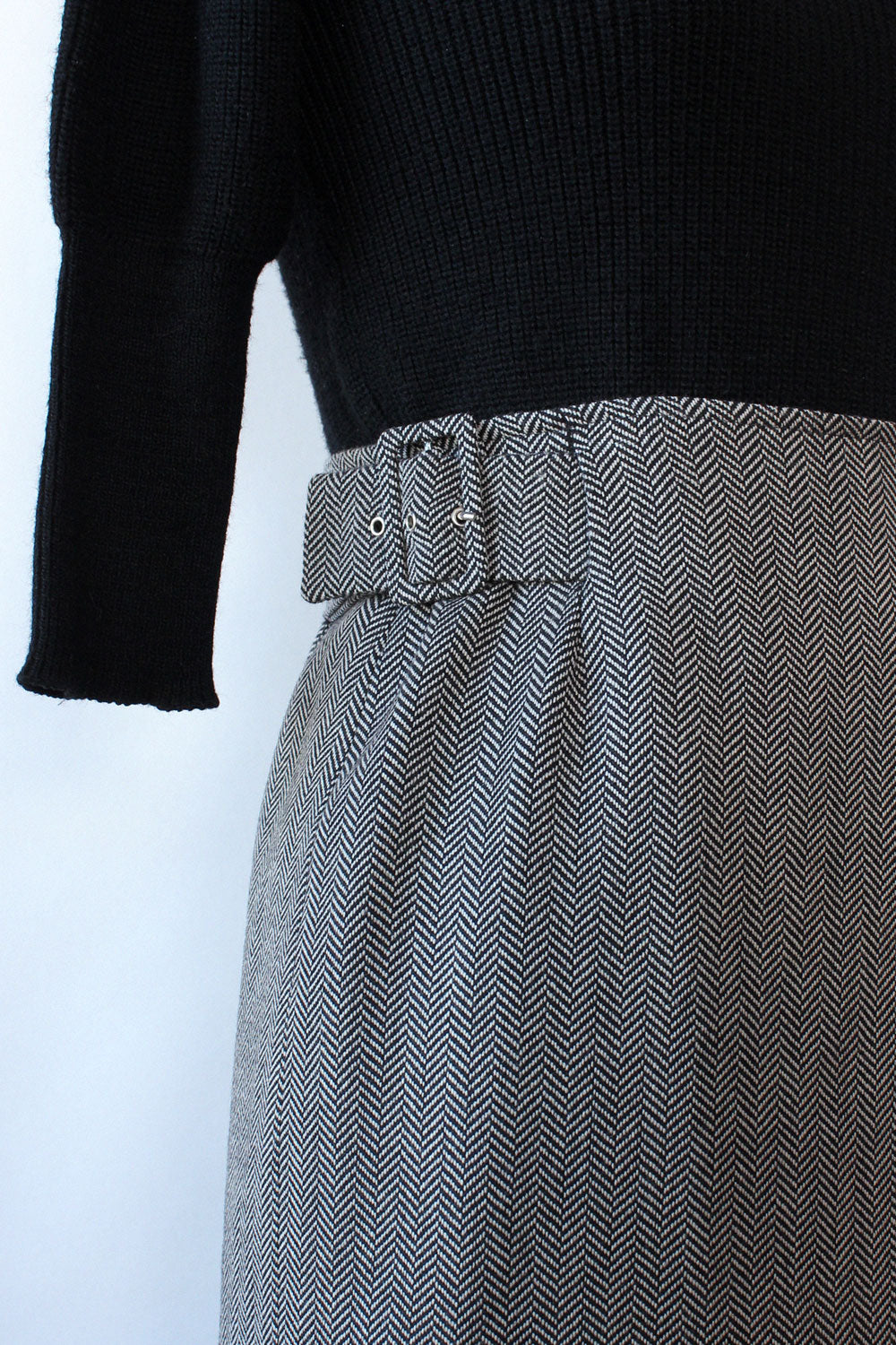 Herringbone Wrap Buckle Skirt S/M