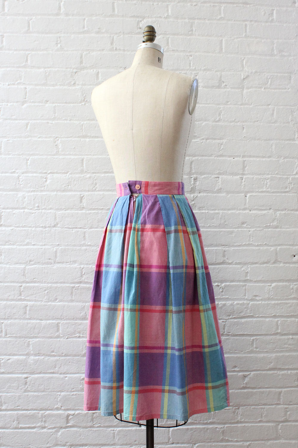 Soft Pastel Plaid Skirt XS