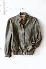 B. Altman Olive Leather Bomber Jacket S/M