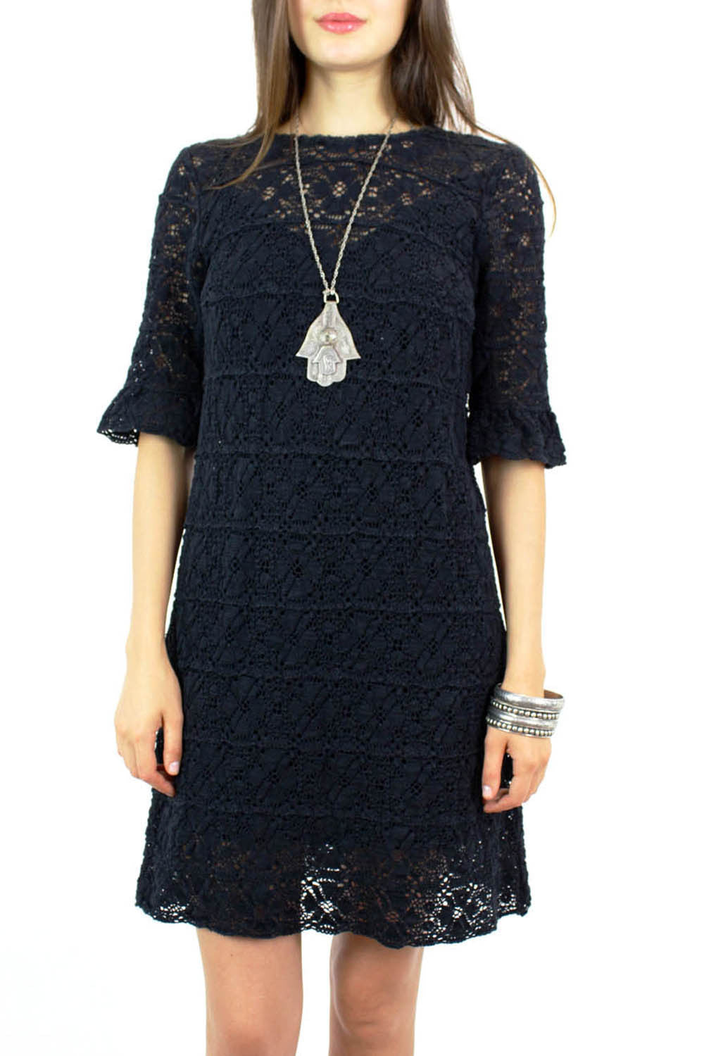Brussels crochet floral lace dress S/M