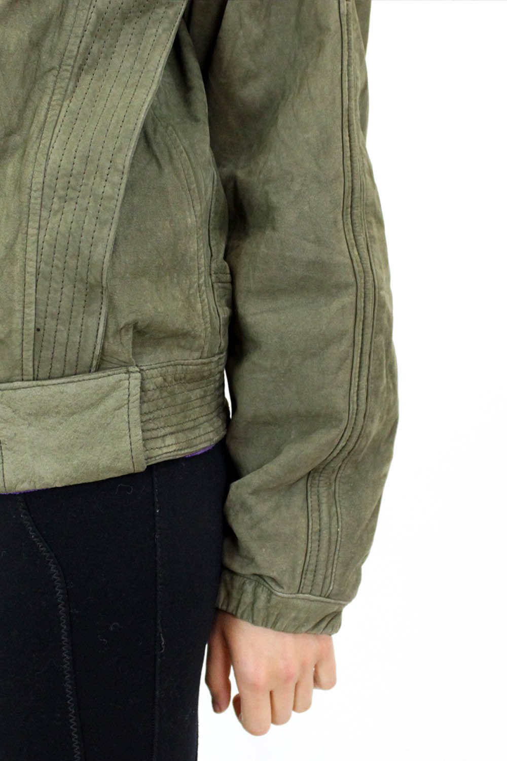 Olive Leather Moto Bomber Jacket M