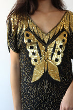 Golden Butterfly Sequin Silk Dress XS/S