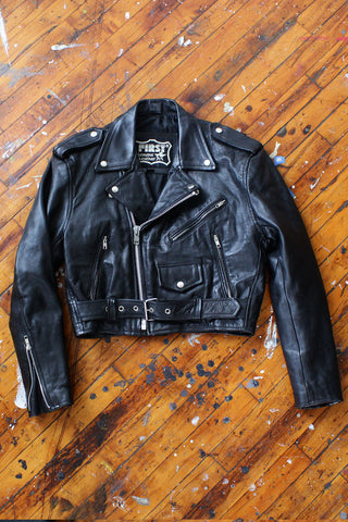 Jessie Black Leather Moto Jacket M
