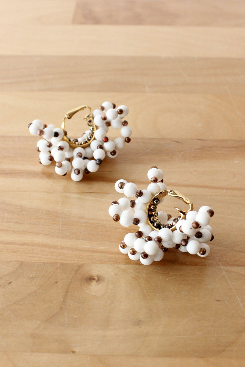 Beaded Snowball Clip-Ons