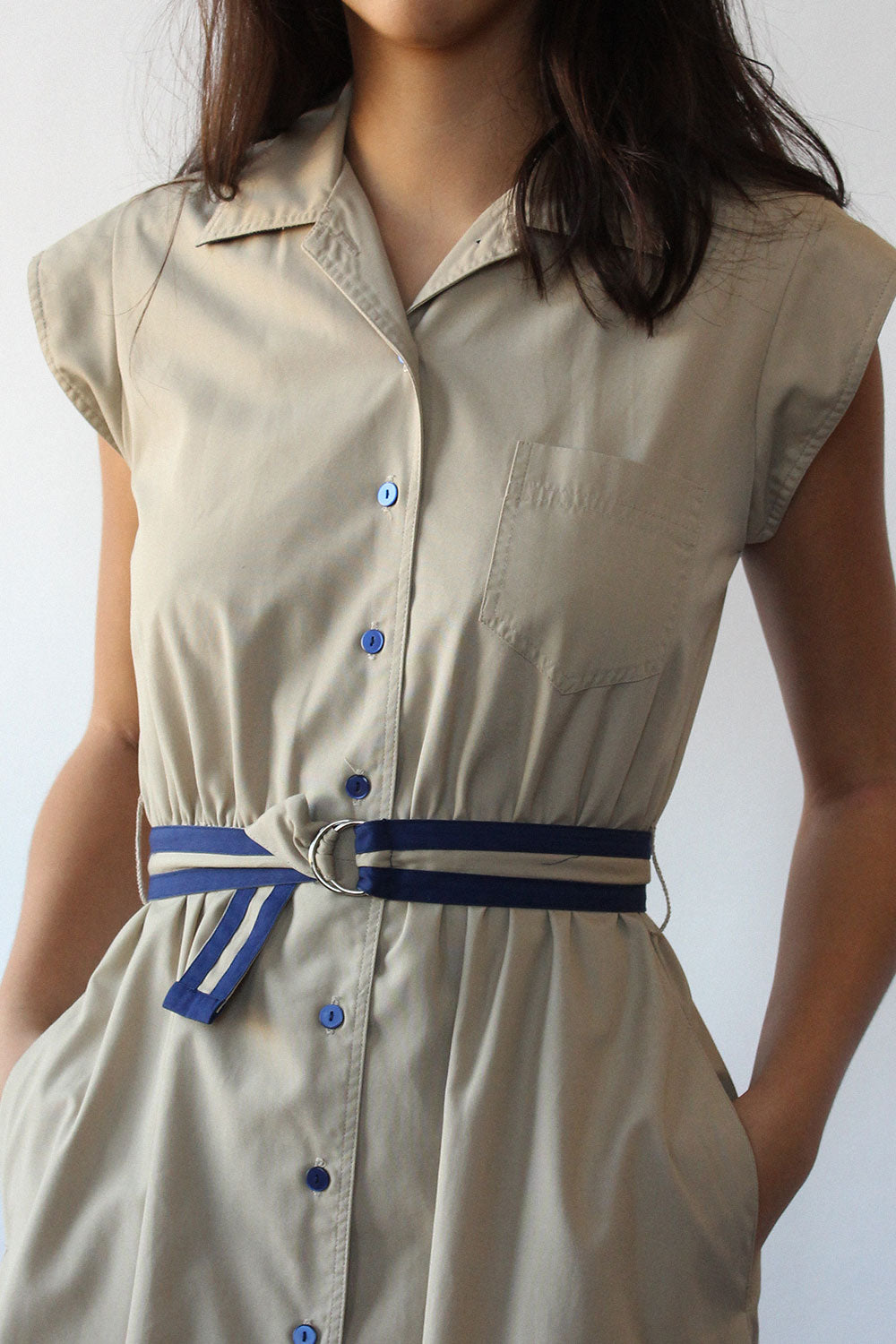 Utilitarian Khaki Shirtdress XS-M