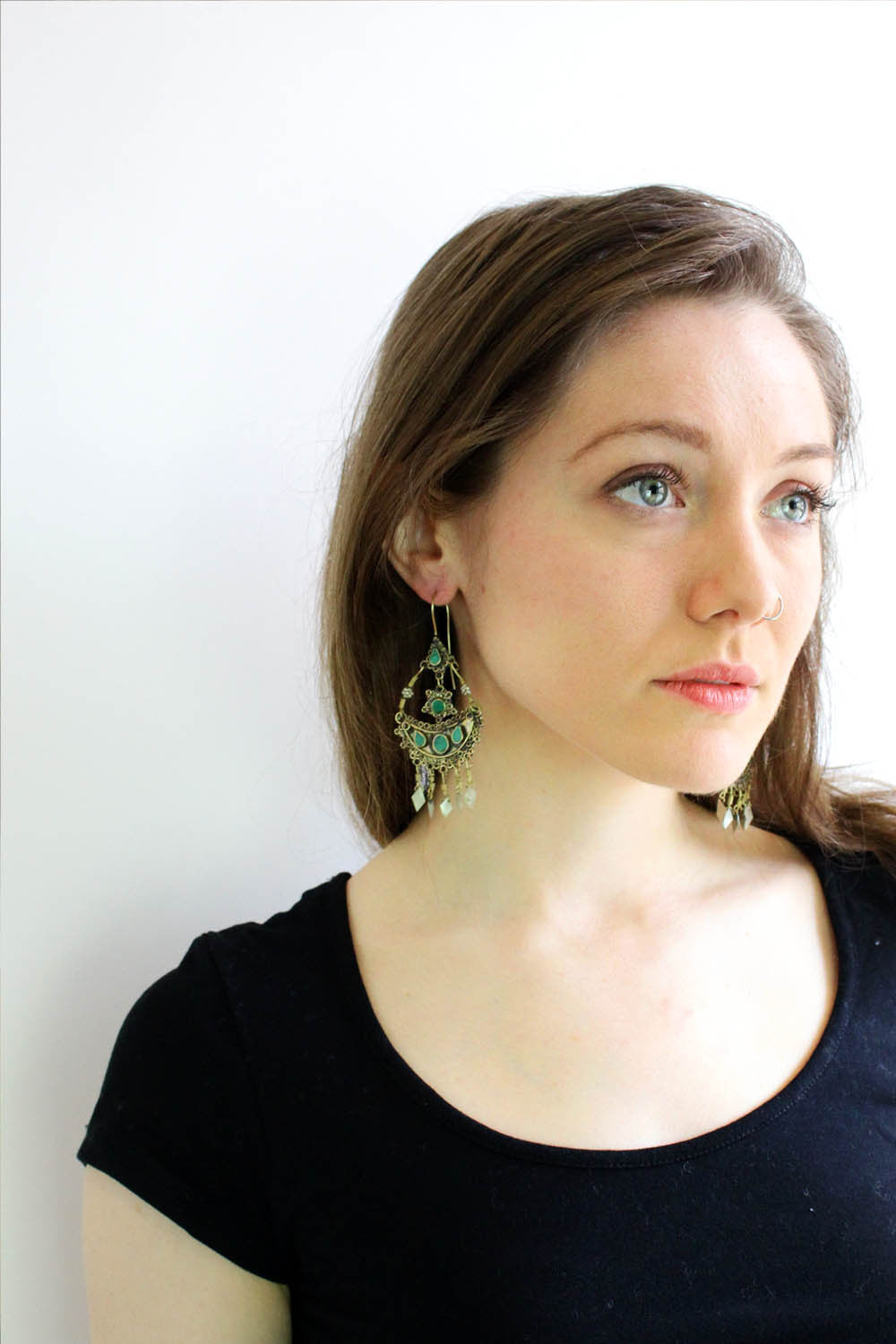 Green Tribal Crescent Earrings