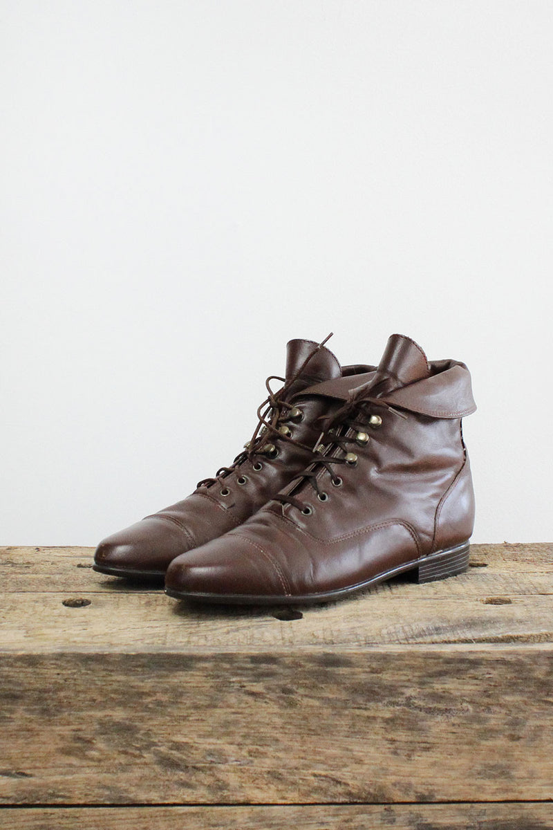 HOLD • Brown Lace Up Booties 7