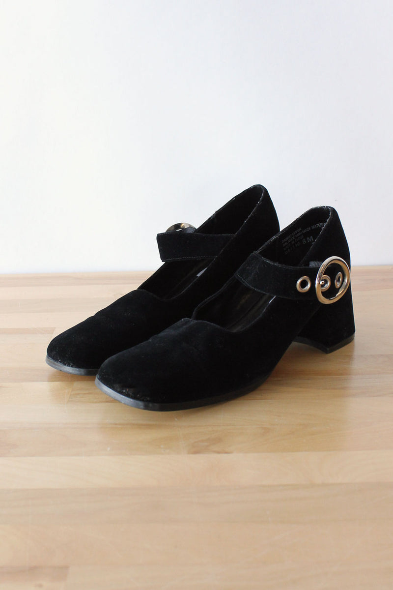 Save It Velvet Buckle Mary Janes 7.5