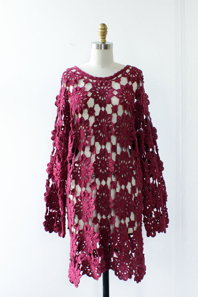 Raspberry Crochet Dress