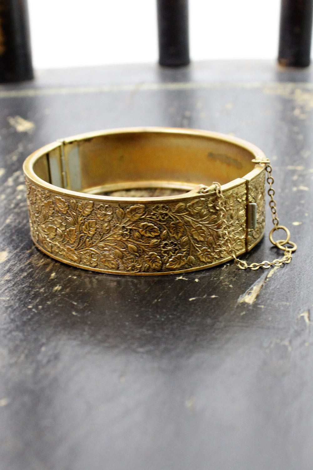 brass repousse hinge bangle