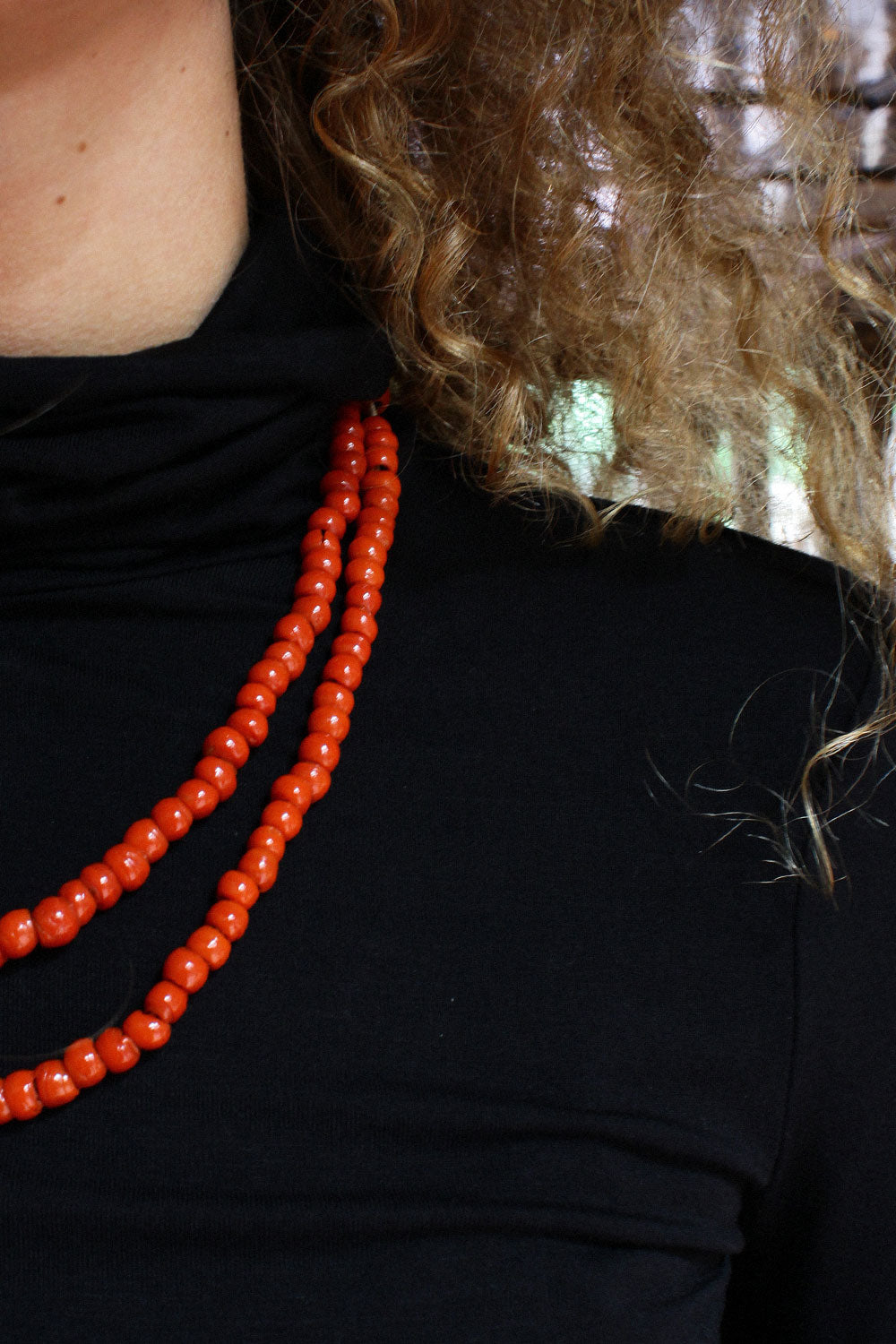 Persimmon Glass Beaded Strand