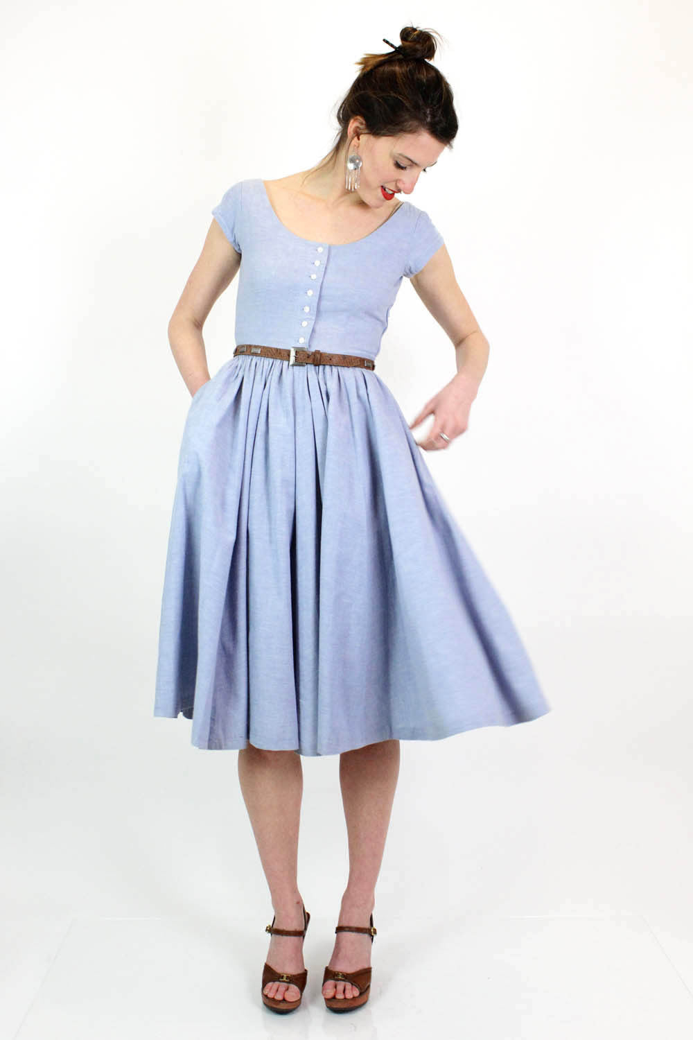 Sky Blue Cotton Fit & Flare Dress XS