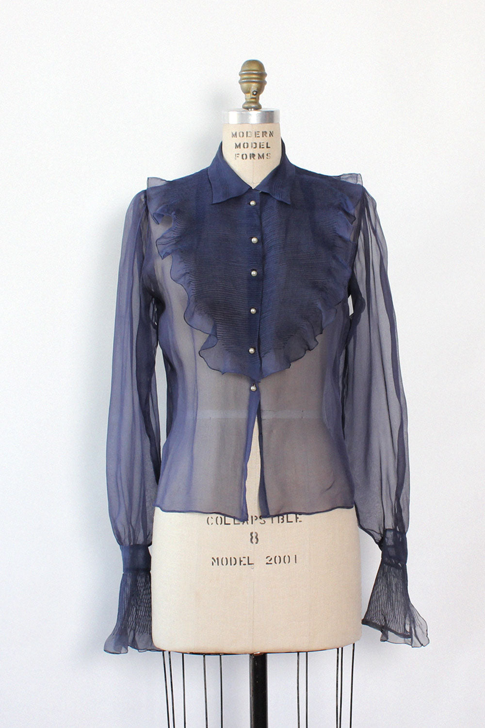 Navy Silk Sheer Blouse S/M