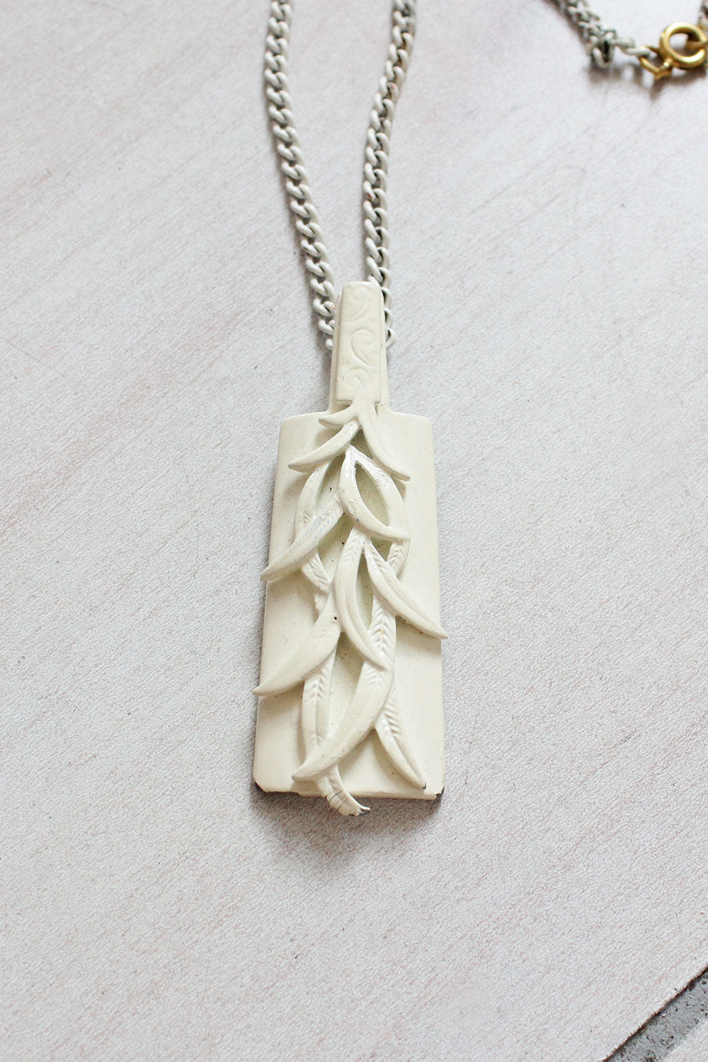White Leaf Pendant Necklace