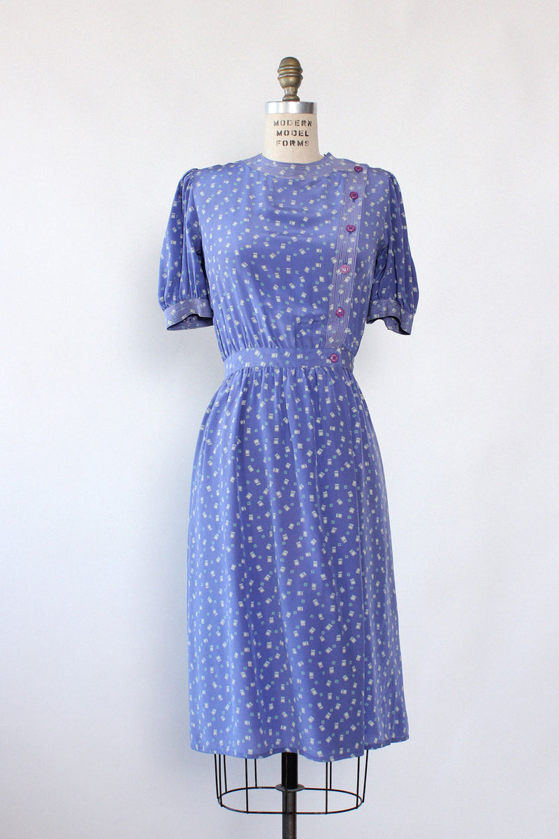 Lilac Silk Blousey Dress M/L