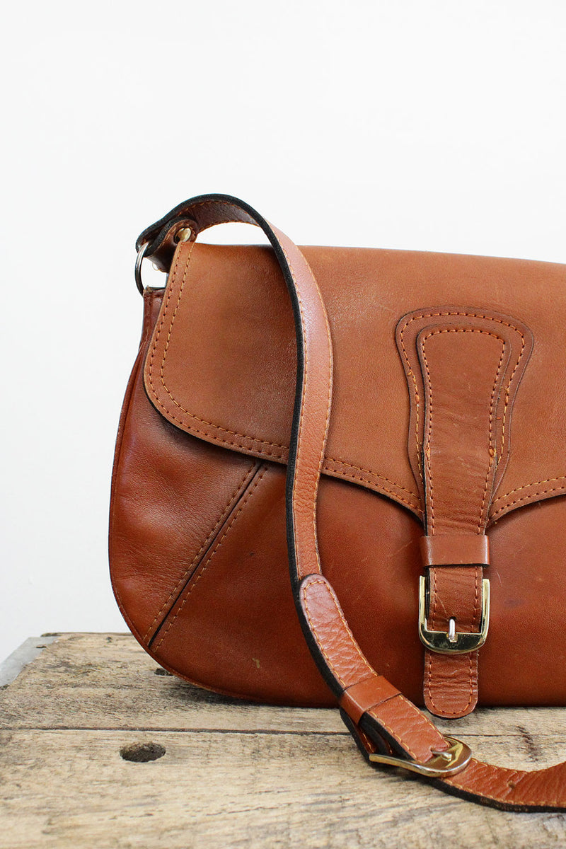 Chestnut Leather Accordion Bag