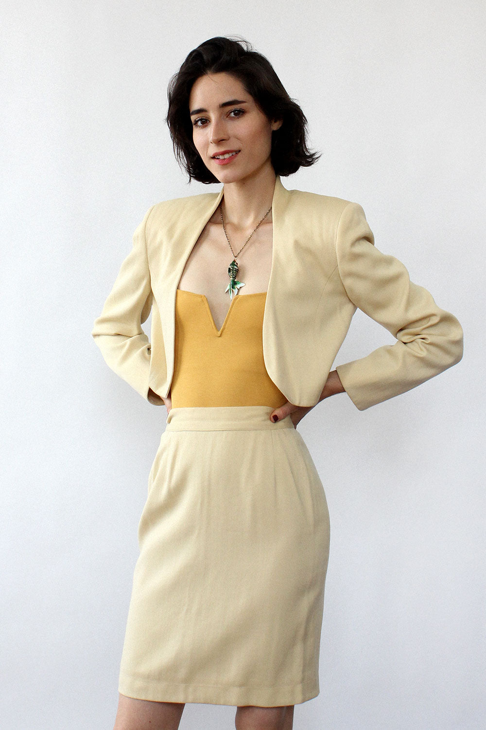 Ferragamo Blonde Skirt Suit XS