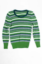 Mossy Green Striped Knit Top XS/S