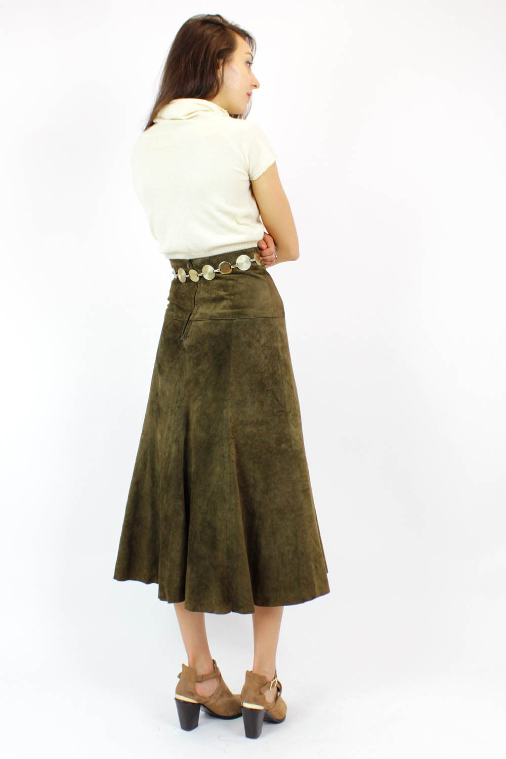 olive green suede midi skirt XS