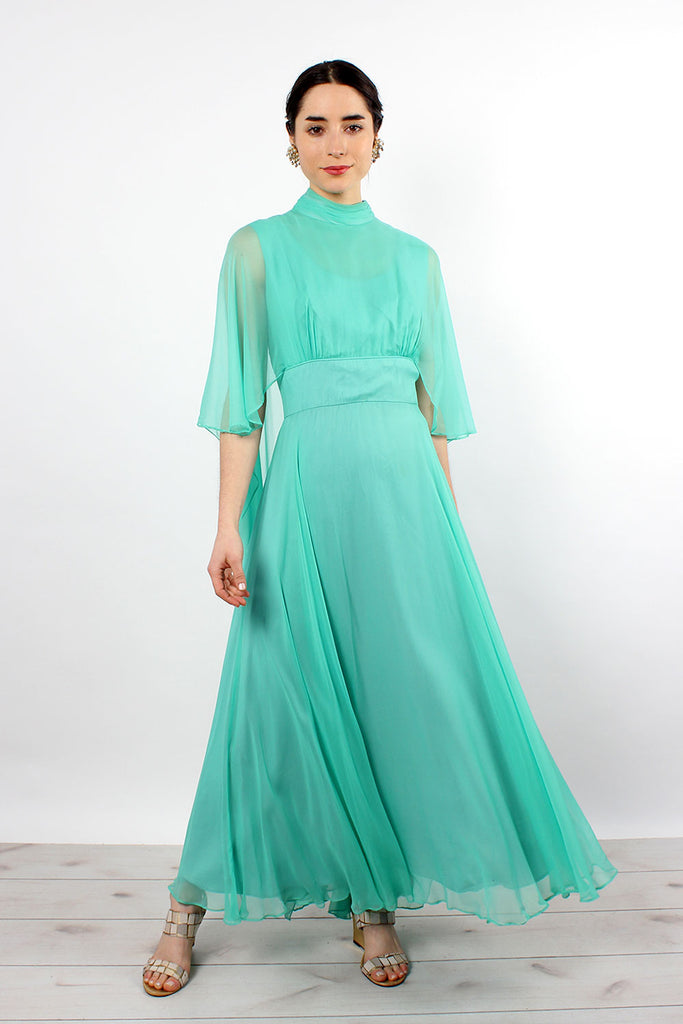 Spearmint Chiffon Angel Dress M