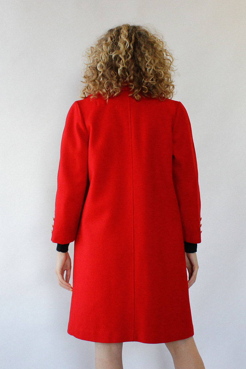 Red Wool Commander Coat S/M