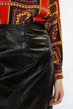 Papery Black Leather Skirt M