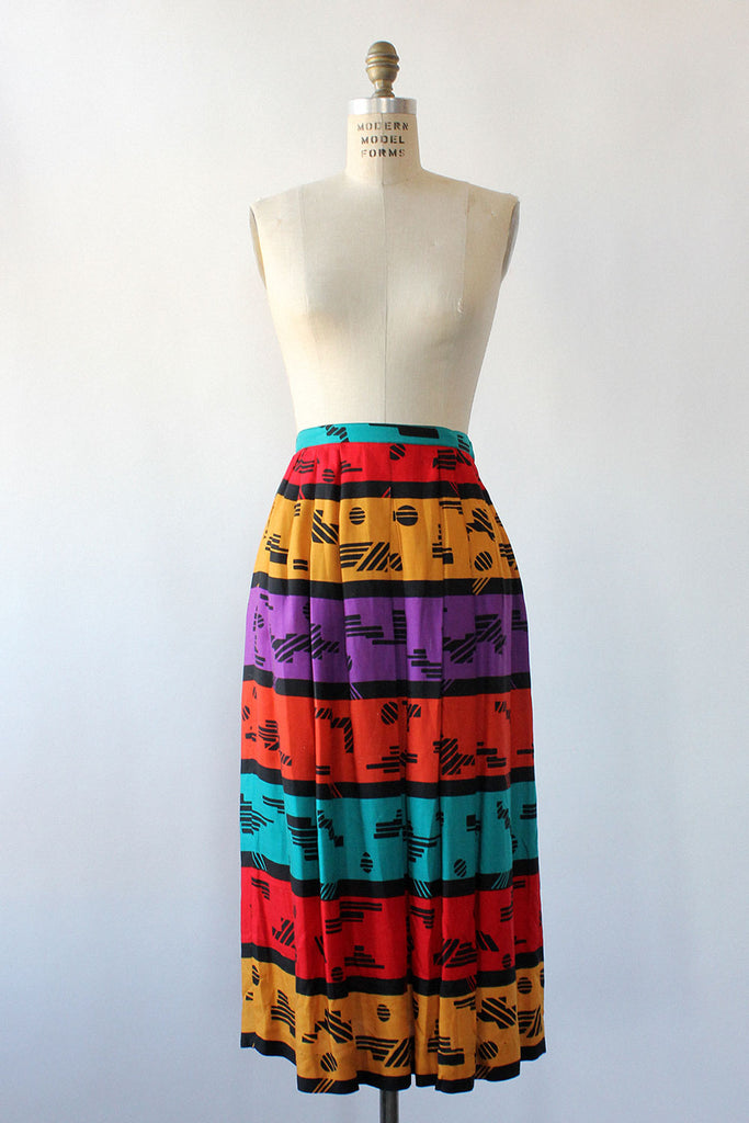 Graphic Jewel Midi Skirt M