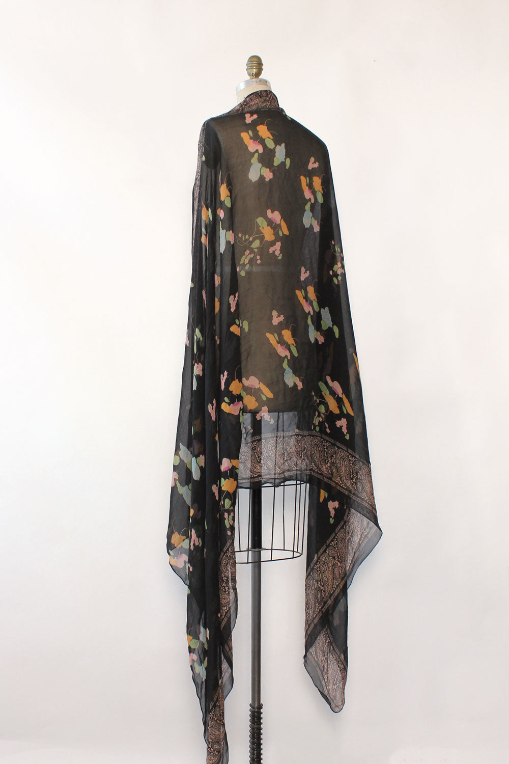 Black Blossom Silk Wrap