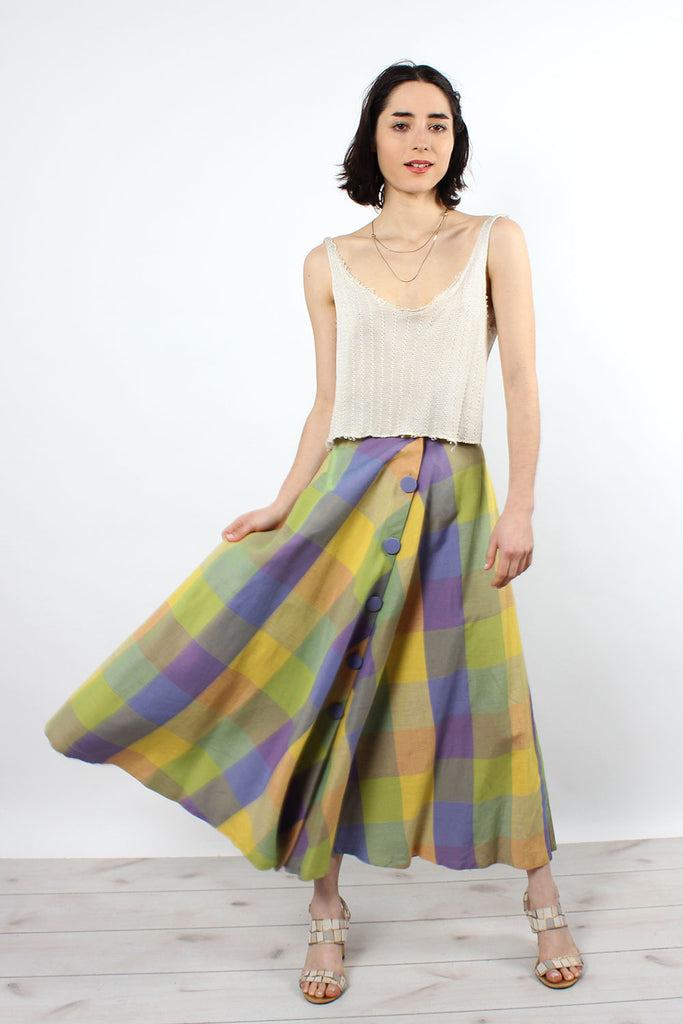 Lilac & Chartreuse Plaid Skirt XS