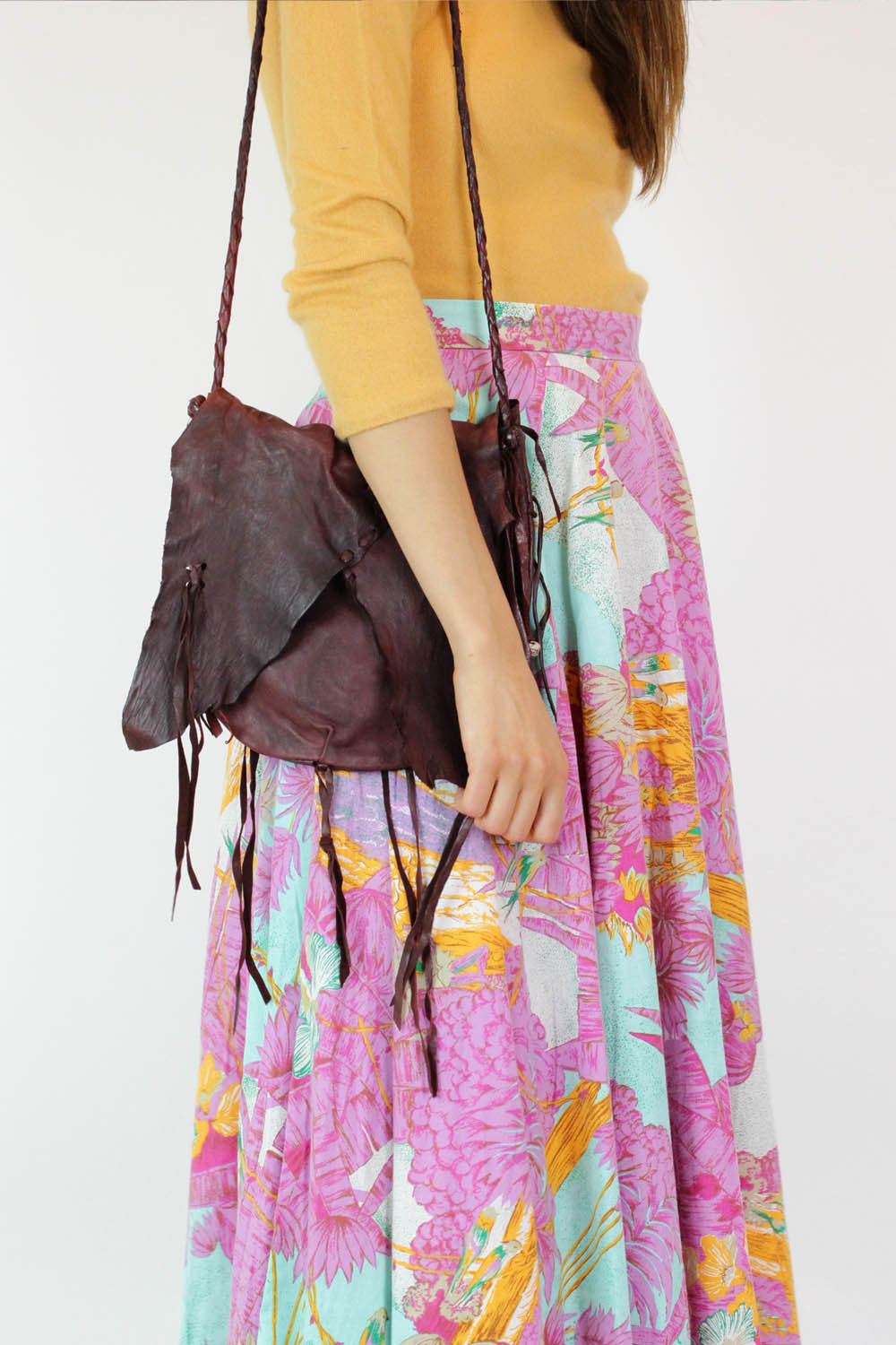 Braided Fringed & Beaded Leather Bag