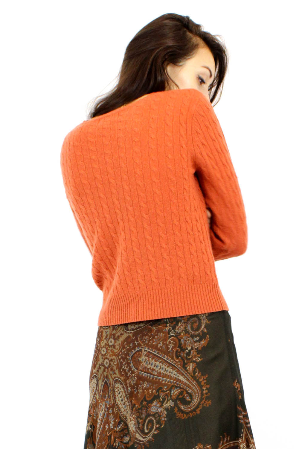 Sale / cashmere pumpkin sweater S