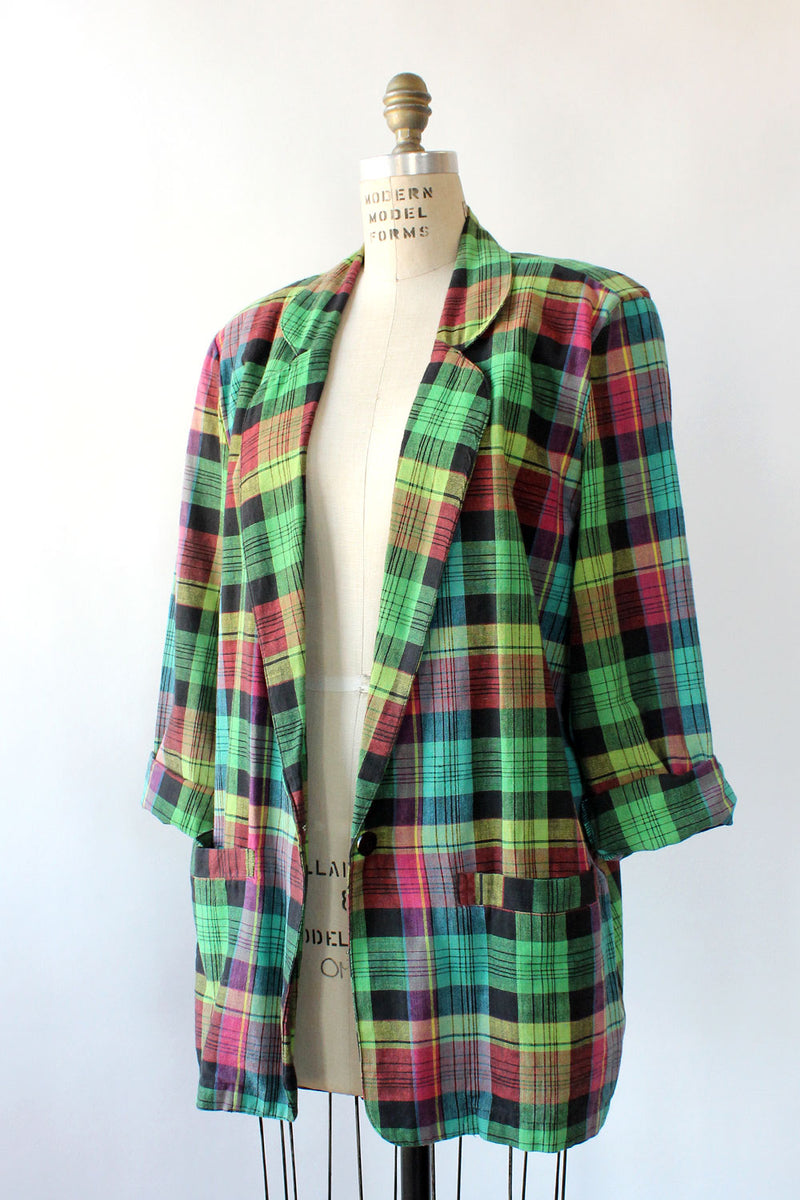 Angelique Green Plaid Blazer M/L