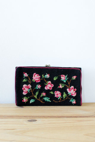Rose Needlepoint Wallet