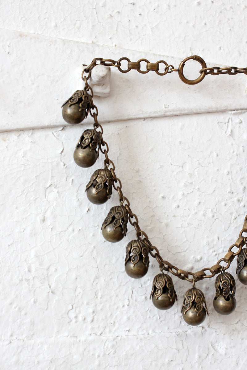 Brass Bauble Necklace